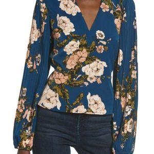 LEITH Pleated Sleeve Blue Aurora Floral Blouse NWT